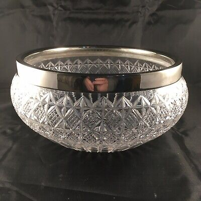 Vintage Beautiful Cut Glass/Crystal Silver Plate Rimmed Fruit Bowl/Serving Dish