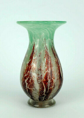 fantastic WMF art deco ikora glass VASE karl wiedmann 1930s green and dark red