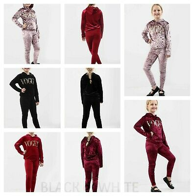 Girls Hooded Velvet VOGUE Slogan Tracksuit Top & Bottom Lounge Wear Co Ord Set
