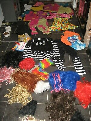Fancy Dress Costumes Job Lot Wigs Handmade Clown Outfits M / L Parties Festivals