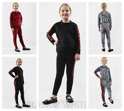 Girls Kids Stripe Velvet Tracksuit Velour Top & Bottom Lounge Wear Co Ord Set