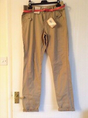 Camel chinos, Angel range at M&S, small, camel colour with pink belt, BNWT, rrp