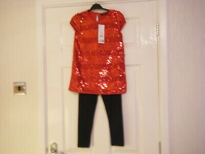 Girls Red and Black 2 Piece Outfit Age 6-7 Years from George