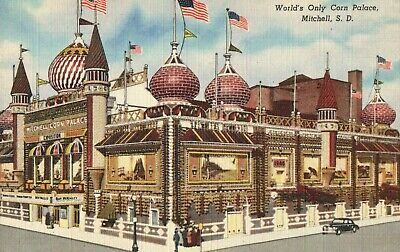 World's Only Corn Palace, Mitchell, S.D, Vintage, Unused Postcard A29