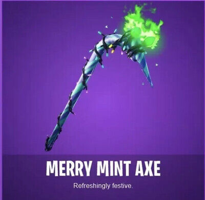 Fortnite Merry Mint Minty Pick Axe Card. UNUSED FAST DELIVERY