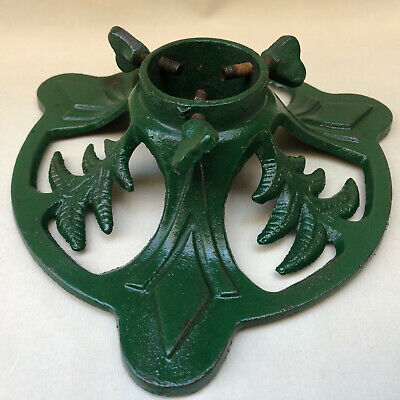 VINTAGE FRENCH ART DECO 1930s GREEN CAST IRON CHRISTMAS TREE STAND FOR REAL TREE