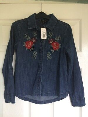 Girls Denim Long Sleeved Shirt Age 10 Brand New With Tags