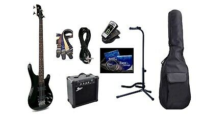 Bass Guitar 24 Fret Rosewood Black iMEB745 Package with Amp,Bag,Stand,Strap...