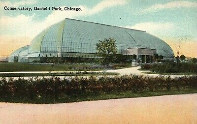 Entrance & Interior of Conservatory, Garfield Park, Chicago  Postcard A17