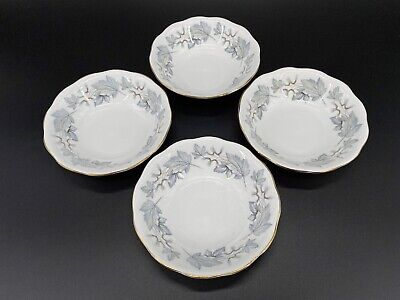 Royal Albert Silver Maple Fruit Dessert Nappy Bowls Set Of 4 Bone China England
