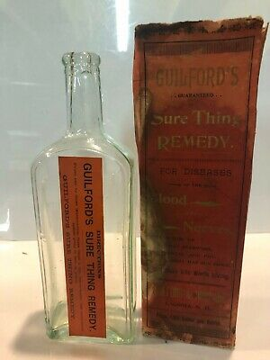 Guilfords Sure Thing Remedy Cure Antique Patent Quack Medicine Pharmacy Bottle