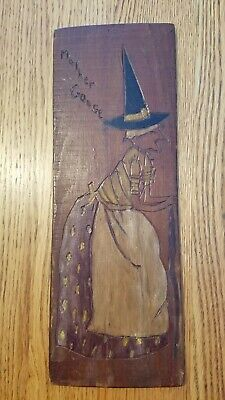 Folk art Tramp art carving mother goose painted back of cheese box