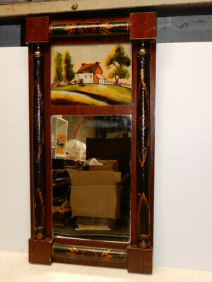 Antique Stenciled  American Federal Wall Mirror Reverse Painted