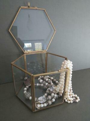Vintage Glass Brass Display Cabinet Table Top Jewelry Box
