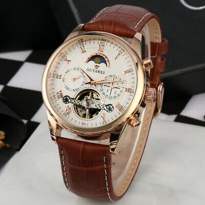 Mens Flywheel Leather Quality Luxury Skeleton Automatic Mechanical Watch Date