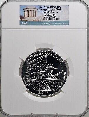 2017 5oz SILVER 25C George Rogers Clark NGC MS 69DPL Early Releases must see!