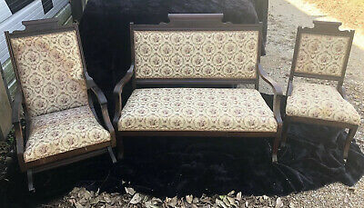 19th Cent Victorian Eastlake Style Parlor Set - Sofa, Platfor Rocker, Side Chair