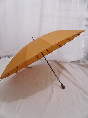 Vintage Polan Katz PK Orange Short Umbrella Parasol Amber Lucite Handle