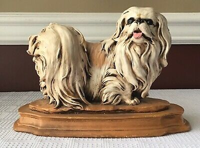 Vintage Chinese  Chalkware Dog Figurine On A Base, Heavy (4.6 Pounds)