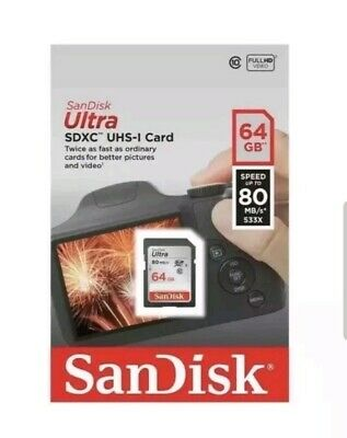 Sandisk 64GB Ultra SDXC SD Card Class 10 UHS-1 Memory Card 80mb/s For Camera...