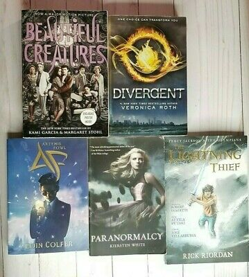 Lot of 5 Young Adult Books Fantasy Divergent Beautiful Creatures Percy Jackson
