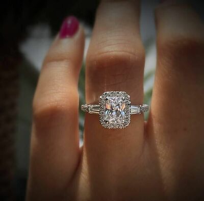 Luxury Princess Cut White Topaz CZ Promise Wedding Ring 925 Silver Jewelry Gifts