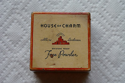 Old Vintage or Antique Adv. House of Charm Moisture Proof Face Powder Makeup Box