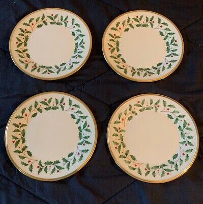 "Lenox Holiday Salad Plates  Gold Trim Holly Berry 8"" Set of 4 Must See!"