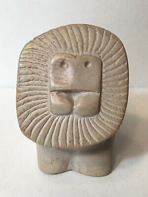Mid Century Modern Carved Stone Lion Paperweight Figurine Abstract Zodiac