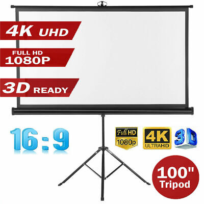 "100"" 4K 1080P Projector Screen Home Theatre HD Mobile Projection Tripod Stand AU"