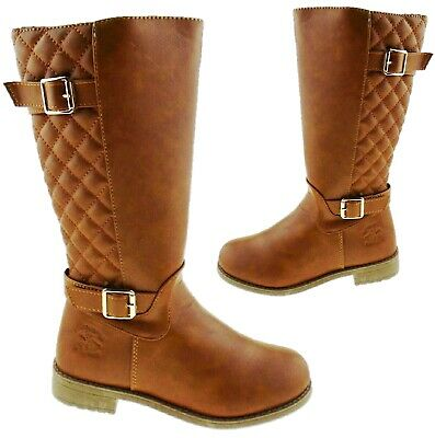 Kids Girls Country Quilted Riding Buckle Tan Mid Calf Long Flat Zip Shoes Boots