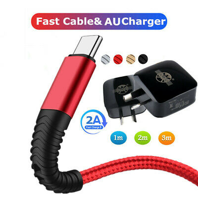 AU Charger Micro USB Fast Charge Cable For Android Type-C Cell Phone Data Cable