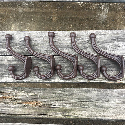 "5X Vintage Style Cast Iron Wall Coat Hooks Hat Hook Hall Tree 4 1/2"" Decor Brown"