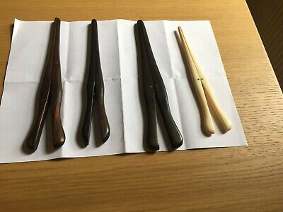 Vintage Glove Stretcher Collection - 1 bone, 2 medium ebony, 1 large ebony