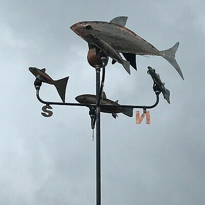 Copper Weather Vane, Fish shoal , All fish show direction together.