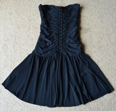 Girl's/Ladie's Black thin strapped dress with corset top River Island size 8