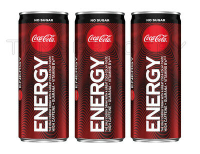 3 x COCA COLA ENERGY Drink Zero Sugar Full Unopened Can 250ml
