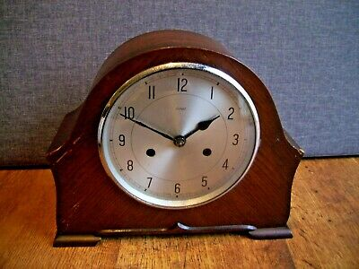 Antique 1930's Enfield Oak Chiming Mantel Clock with Key & Pendulum (British)