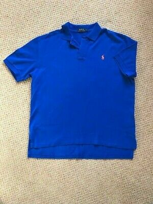 Mens POLO Ralph Lauren Polo Shirt Classic Fit Short Sleeve Top Royal Blue L