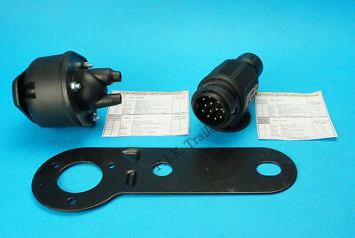 13 Pin Twin Cable Conversion Plug & Socket with Gasket & Bracket for Caravan