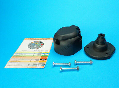 13 Pin Towing Socket with Gasket Seal & Bolts for Trailer & Caravan