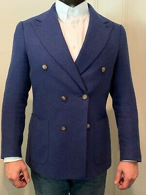 Suitsupply Double Breast Blazer Jacket Blue 38R Silk Wool Linen  Impeccable
