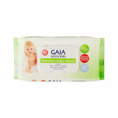 NEW Gaia Natural Baby Nappies Wipes Bamboo Wipes 80 Pack