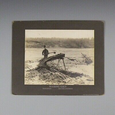Mounted photograph - placer gold mining in Canada - miner with pan & sluice box