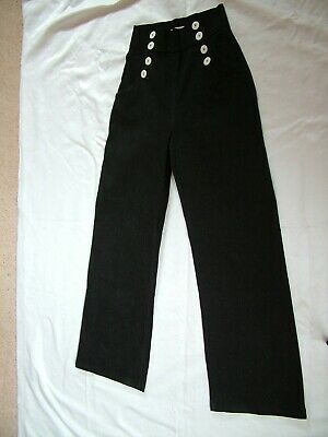 Tara Starlet High Waist Button Front Vintage Style Charcoal Trousers UK 12