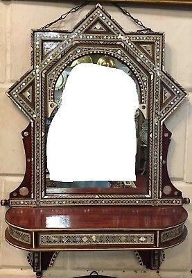 Antique Egyptian Wall Shelf With Mirror, Curving Wood  Inlaid Mother of Pearl
