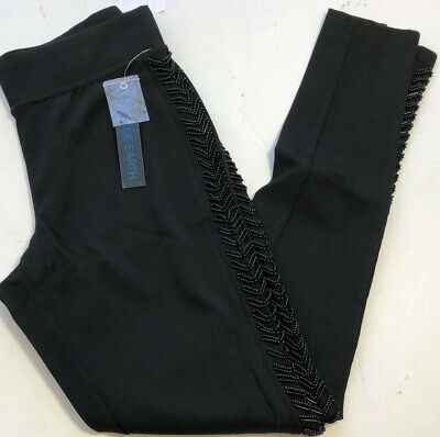 Womens Black Legging Pants Size Small Blue Earth Pull On Beaded Sides New (ln18)