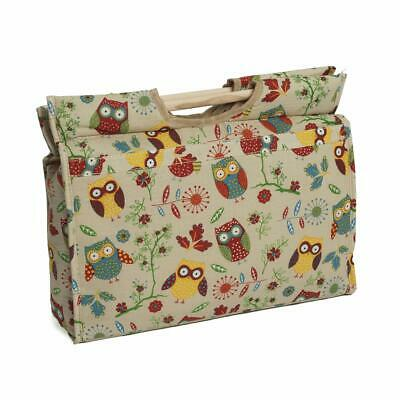 HobbyGift Knitting Craft Bag with Wooden Handles - Owl design