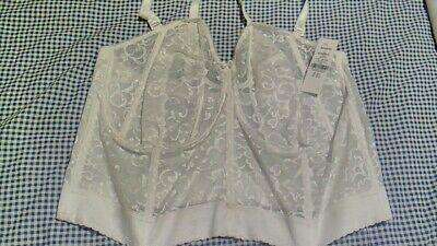 Goddess White Bustier Size 48F  Full Cup Bra Boned Lace Bridal