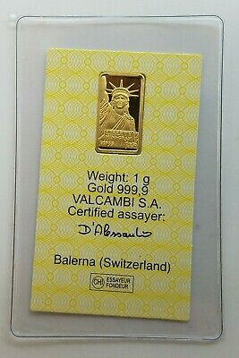 1 gram Credit Suisse Statue of Liberty Gold Bar .9999 Fine Certified 075537